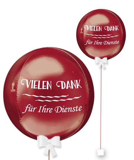 Bubble Ballonkugel Orbz Mitarbeiter Kollege Kunde Vielen Dank für Ihre Dienste personalisiert beschriftet Firma
