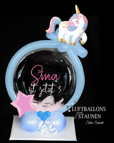 Ballon Luftballon Geburtstag Bubble Einhorn süß Stern rosa hellblau Geburtstag Kindergeburtstag Überraschung Deko Dekoration Tischdeko Mitbringsel Geldgeschenk Versand