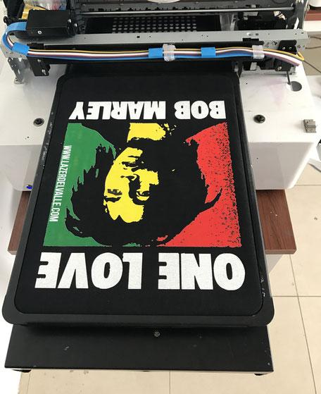 Impresión, dtg, textil, directa, sobre, algodón, negro, tela, negra