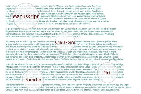 Die Textmamsell: Text, darüber Keywords mit Lupenfunktion hervorgehoben, symbolisch für Manuskript-Begutachtung