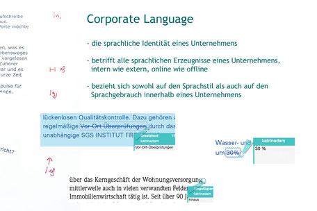 Die Textmamsell: Collage Werbelektorat: Korrekturen und Erklärung Corporate Language