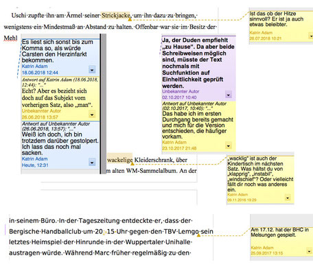 Die Textmamsell: Collage Lektorat; Kommentare und Korrekturen