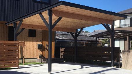 木製カーポート施工の画像