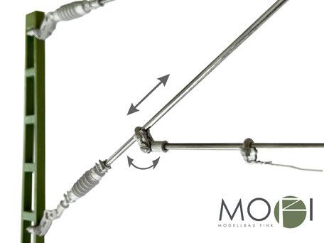 Die hochwertige und flexible Oberleitung von MOFI mit vielen Verstellmöglichkeiten.