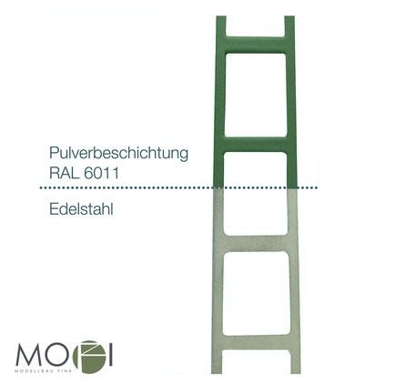 Die Masten der Oberleitung sind aus stabilem witterungsbeständigem Edelstahl und somit perfekt für den Einsatz bei der Gartenbahn.