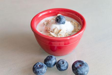 Porridge in roter Schale mit Heidelbeeren