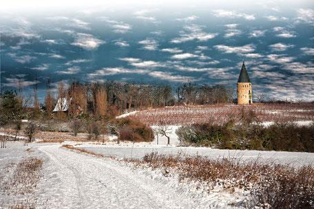 Flörsheimer Warte im Winter mit Schnee