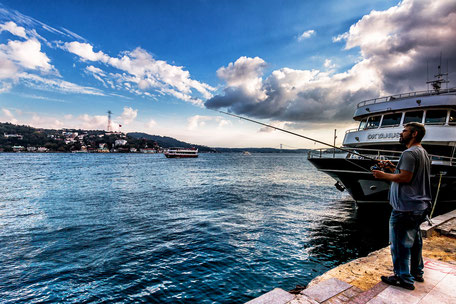 Angler am Bosporus in Bebek