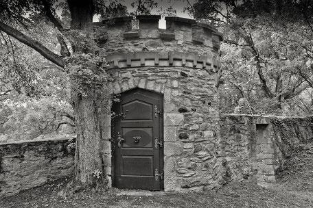 Eingang-zum-Turm-auf-Schloss-Dhaun-monochrome