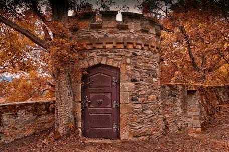 Turm-auf-Schloss-Dhaun-im-Herbst