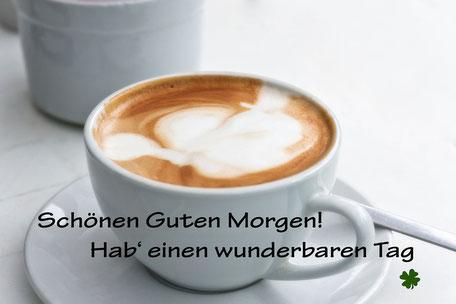Guten Morgen Grusskarte Cappuccino weiss © mjpics