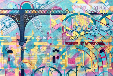 vibrant archictectural abstract art