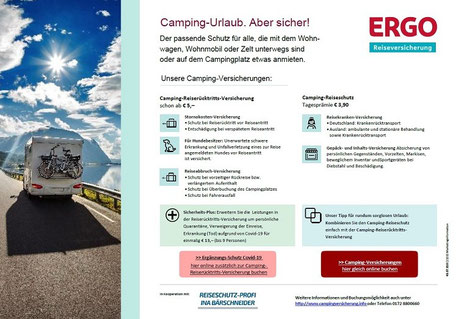 PDF-Flyer für Urlaub auf dem Campingplatz oder Caravaning mit der Camping-Reiseversicherung und Camping-Reiserücktrittskosten-Versicherung und Corona-Zusatz-Schutz Covid-19-Absicherung mit Quarantäne der ERGO Reiseversicherung