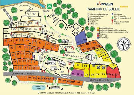 Plan camping le soleil à Esparron de Verdon