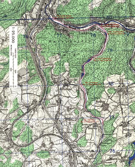 Zitat aus der topografischen Karte 1:25000, 4709 Barmen, 1951, aus der Sammlung  Harold B.Lee Library.