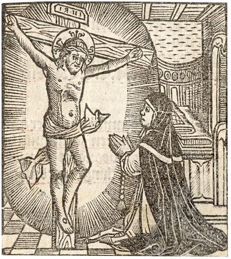 Houtsnede: Bertken in gesprek met Jezus.