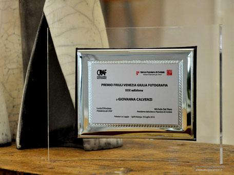 Quadro-targa Premio Friuli Venezia Giulia XXX edizione 2016, a Giovanna Calvenzi personalizzato con loghi a colori