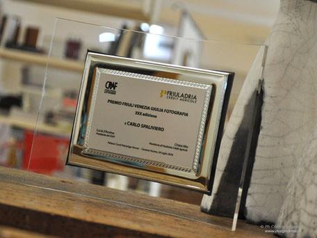Quadro targa Prmio Friuli VG 2016, XXX° edizione. Dedica e loghi stampati a colori