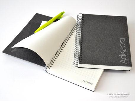 Notes spiralato in Ricuoio e carta reciclata tutto personalizzato www.designcenter.it