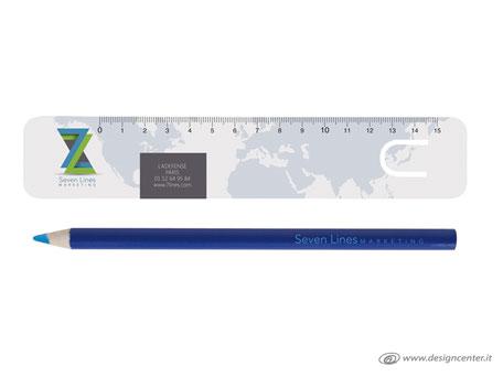 Confezione segnalibro  con righello e matita con mina colorata