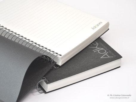 Quaderno spiralto da 120fogli  copertina cuoio rigenerato e personalizzato www.designcenter.it
