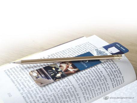 Kit segnalibro con matita lunga - matita dorata - matita con gommino