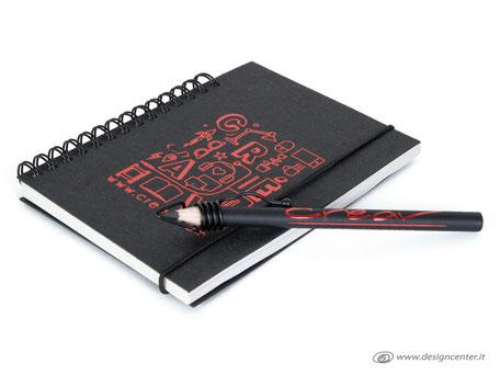 Notebook con spirale - matita con disegno 360° -  Matita un colore