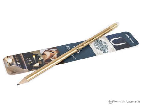 Segnalibro e matita personalizzati - kit  scrittura - fusto dorato