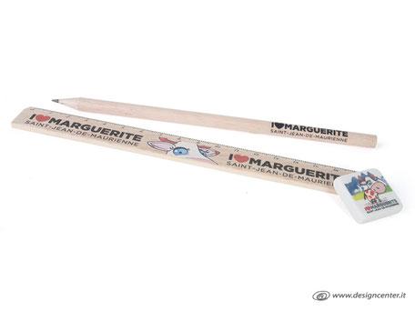 Linea ecologica - matita e righello in legno naturale e gomma per cancellare