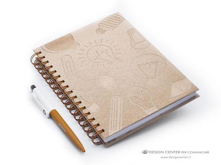 Notes con spirale e copertina Oro metallizzata - lavorazione sartoriale