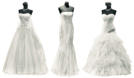 Versandreinigung-mueden.de, Brautkleider, Bild von 3 Brautkleidern, Standard und Aufwendig