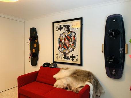 Wandhalterung Wandmontage Wakeboard horizontal vertikal Halterung wall mount Eiche Fixie