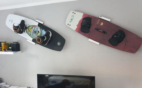 Wandhalterung Wandmontage Kiteboard Kold Wakeboard horizontal vertikal Halterung wall mount LED Beleuchtung beleuchtet
