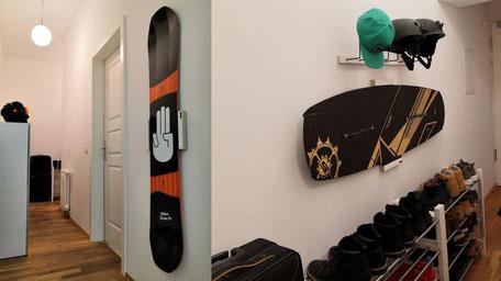 Wandhalterung Wandmontage Snowboard Helmhalter Wakeboard horizontal vertikal Halterung wall mount