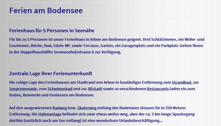 Text Berichte Artikel Webcontent Webseite Hompage