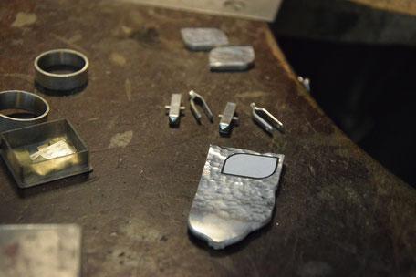 Hammerschlag Manschettenknöpfe aus Silber