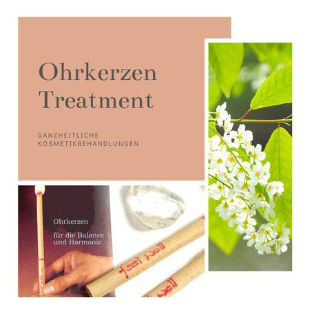 Ohrkerzen-Anwendung mit Kosmetikbehandlung