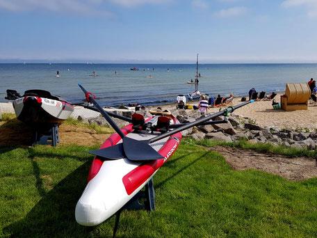 ROWonAIR | AIRKAJAK AIRSKIFF RowMotion Test-Rudern Ostsee Hanseboot Ancora Strandkorb