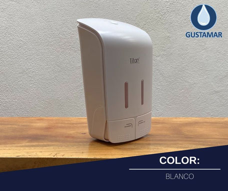 DISPENSADOR DOBLE MANUAL DE GEL O JABÓN BLANCO