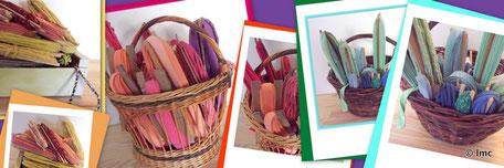 Préparation des couleurs et des torons de tissus.