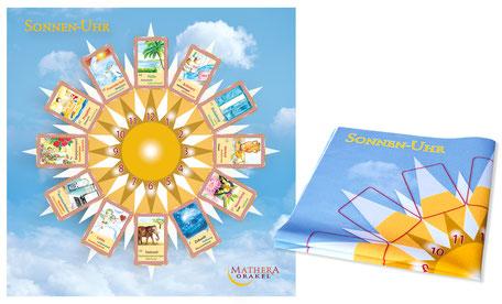 MATHERA-Sonnenuhr für Orakelkarten. Felder in Größe der Karten