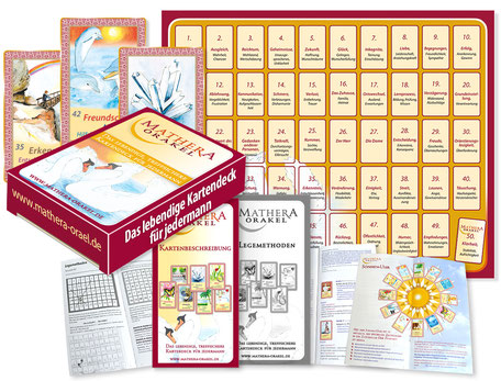 Orakelkarten Set, Anleitungen, Beschreibungen, Legevorlage von Mathera