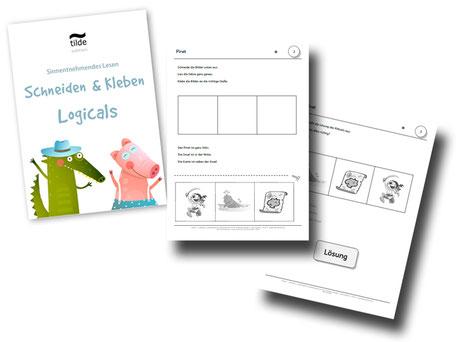 Lesespiel für die Grundschule Lesen Schneiden Kleben