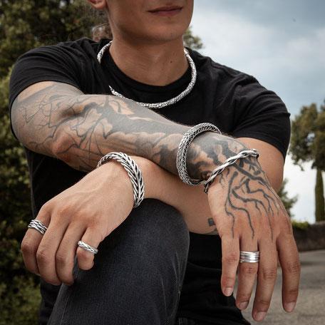 Bagues et bracelets en argent massif pour homme