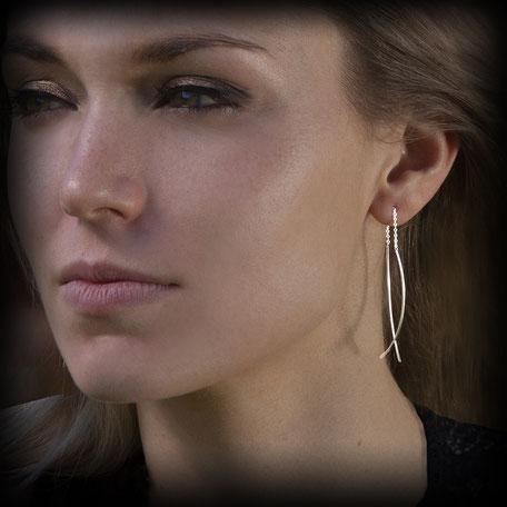 Boucles d'oreilles en argent chaine création