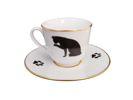 Nara Porcelaine Peinte à la main - Curieux du tasse de café chat noir