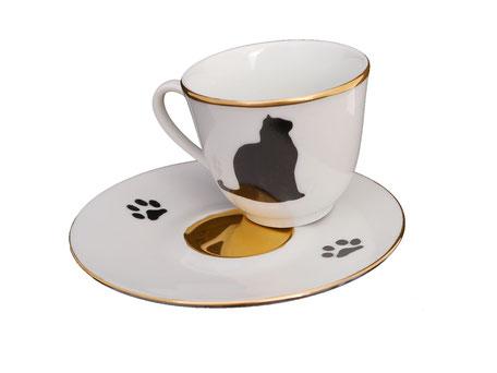 Nara Porcelaine Peinte à la main - Tasse café chat Or et noir