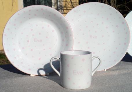 Porcelaine personnalisée pour une naissance