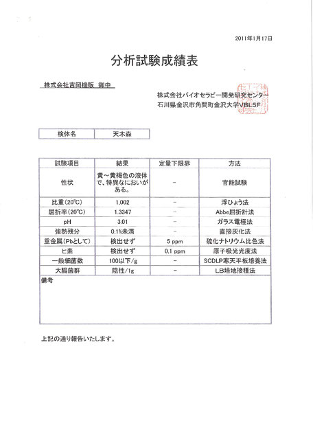 「天木森」は各種分析試験で安全を確認しております。