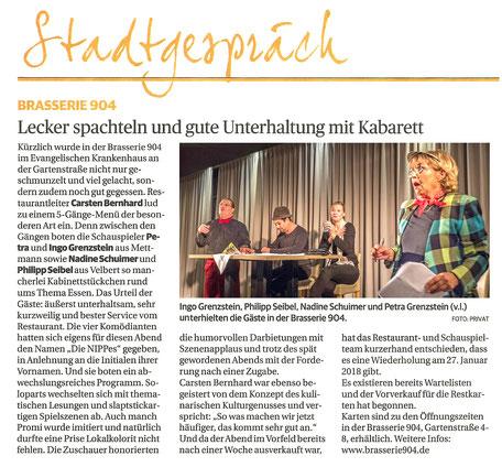 Artikel in der Rheinischen Post vom 10.11.17
